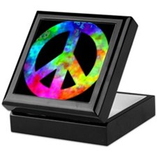 Retro tie-dyed peace sign Keepsake Box