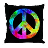 Retro tie-dyed peace sign Throw Pillow