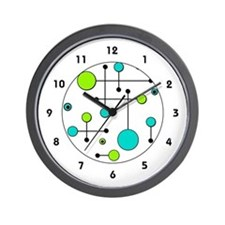 Lime & Teal Dot Dash Wall Clock
