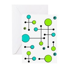 Lime & Teal Dot Dash Greeting Cards (Pk of 10)