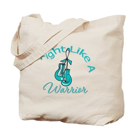 FightLikeAWarrior TealRibbon Tote Bag