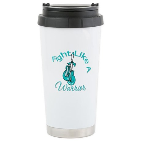 FightLikeAWarrior TealRibbon Ceramic Travel Mug