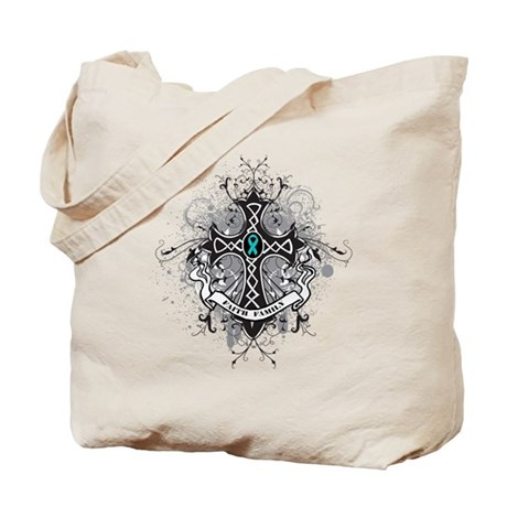 OvarianCancer FaithCross Tote Bag