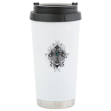 OvarianCancer FaithCross Ceramic Travel Mug