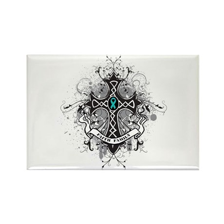 OvarianCancer FaithCross Rectangle Magnet