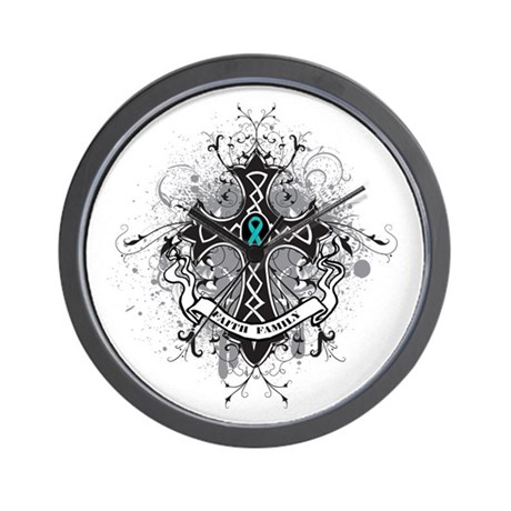 OvarianCancer FaithCross Wall Clock
