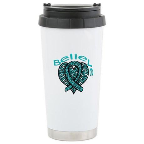 OvarianCancer BELIEVE Ceramic Travel Mug