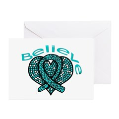 OvarianCancer BELIEVE Greeting Cards (Pk of 20)