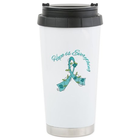 HopeIsEverything TealRibbon Ceramic Travel Mug
