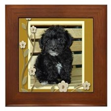 Black Yorkiepoo Puppy Framed Tile