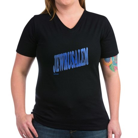 Jewrusalem Israel Women's V-Neck Dark T-Shirt