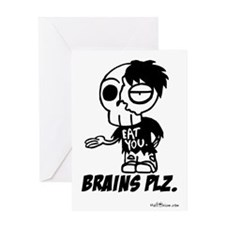 Zombie Brains Plz Greeting Card