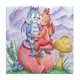 Fruit Dragons in Love Tile Coaster