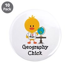"Geography Chick 3.5"" Button (10 pack)"