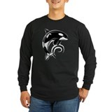 Dolphin Dark White Waves T