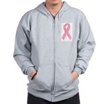 Breast Cancer Ribbon Art Zip Hoodie