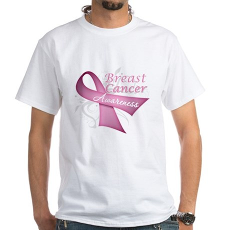 Floral Breast Cancer White T-Shirt