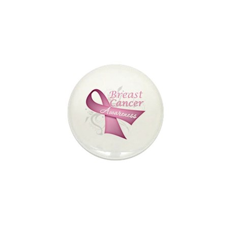 Floral Breast Cancer Mini Button (100 pack)