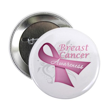 "Floral Breast Cancer 2.25"" Button (100 pack)"