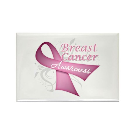 Floral Breast Cancer Rectangle Magnet (100 pack)
