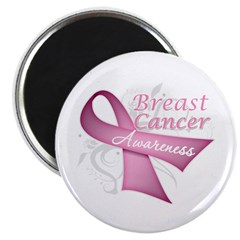 "Floral Breast Cancer 2.25"" Magnet (10 pack)"