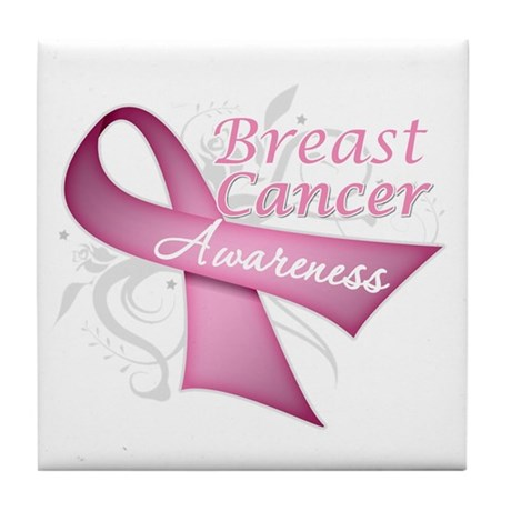 Floral Breast Cancer Tile Coaster