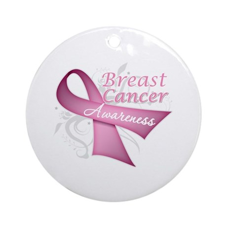 Floral Breast Cancer Ornament (Round)