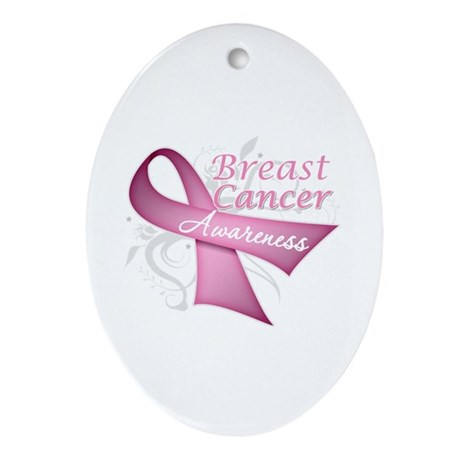 Floral Breast Cancer Ornament (Oval)