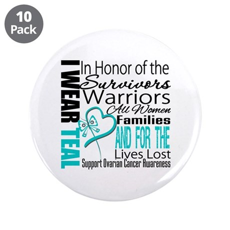 "IWearTeal TributeRibbon 3.5"" Button (10 pack)"