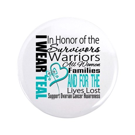 "IWearTeal TributeRibbon 3.5"" Button (100 pack)"
