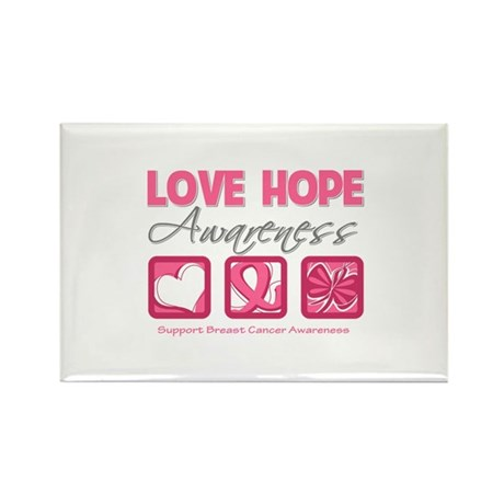 BreastCancer LoveHope Rectangle Magnet