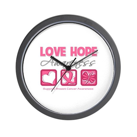 BreastCancer LoveHope Wall Clock