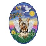 Twilight - Yorkshire Terrier Angel Ornament (Oval)