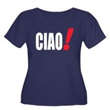 ciao Women's Plus Size Scoop Neck Dark T-Shirt