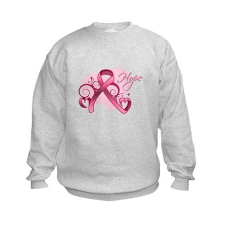 FloralHeartBreastCancer Kids Sweatshirt