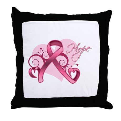 FloralHeartBreastCancer Throw Pillow
