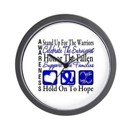 Colon Cancer StandUp Wall Clock