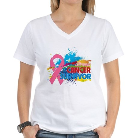 Splash Breast Cancer Women's V-Neck T-Shirt