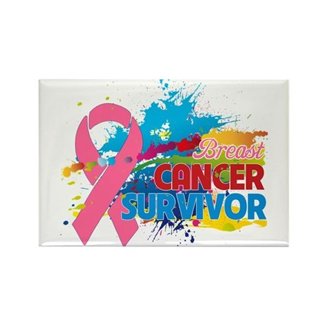 Splash Breast Cancer Rectangle Magnet
