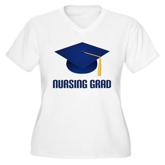 Blue Nursing Grad Women's Plus Size V-Neck T-Shirt