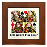 Real Women Play Poker Framed Tile