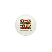 Real Women Play Poker Mini Button (10 pack)