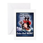 Don't Shiver Winter Poster Art Greeting Cards (Pac
