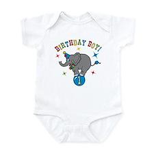 Circus Elelphant 1st Birthday Boy Onesie
