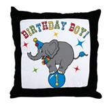 Circus Elelphant 1st Birthday Boy Throw Pillow