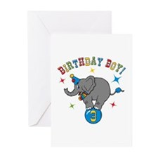 Circus Elelphant 3rd Birthday Boy Greeting Cards (