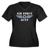 Air Force Aunt Women's Plus Size V-Neck Dark T-Shi