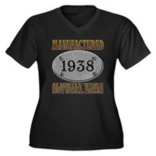 Manufactured 1938 Women's Plus Size V-Neck Dark T-