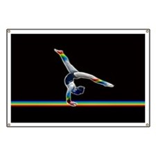 Gymnast on a Rainbow Beam Banner