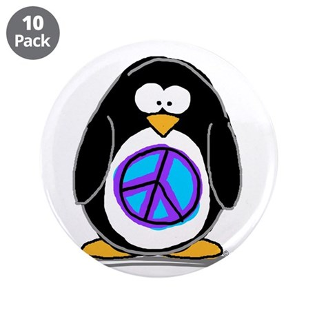 "Peace penguin 3.5"" Button (10 pack)"